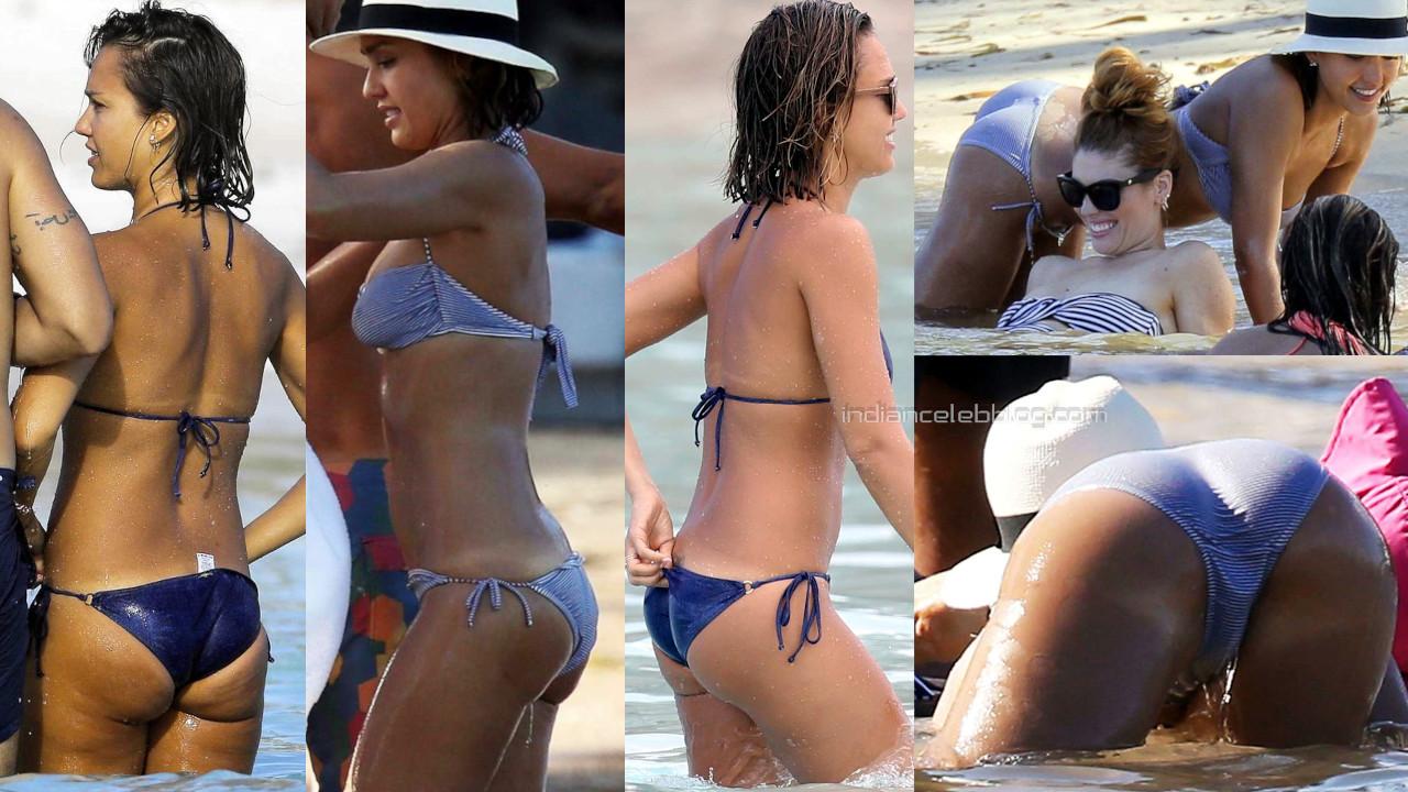 Jessica alba hollywood celeb hot bikini beach paparazzi photos