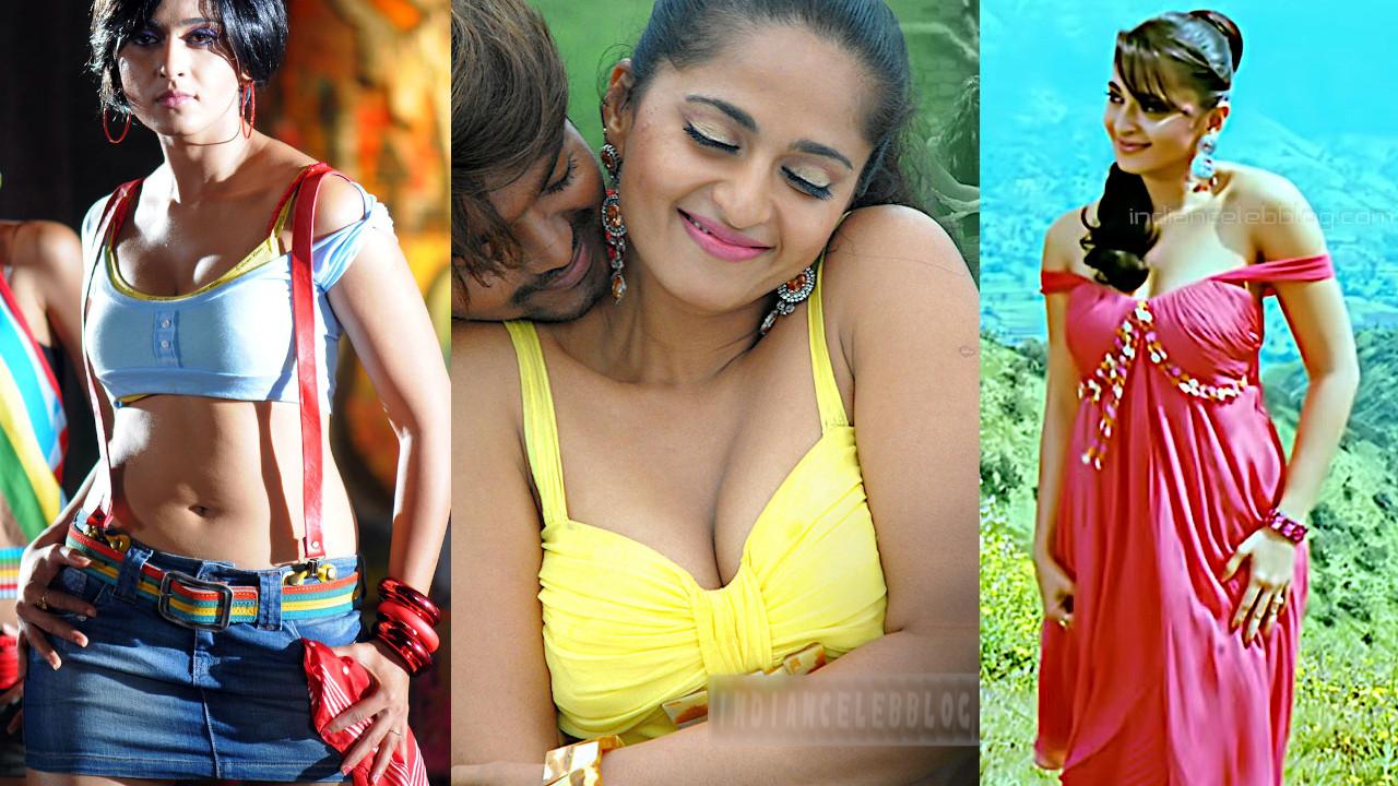 Anushka shetty vettaikaaran kollywood sexy cleavage stills captures