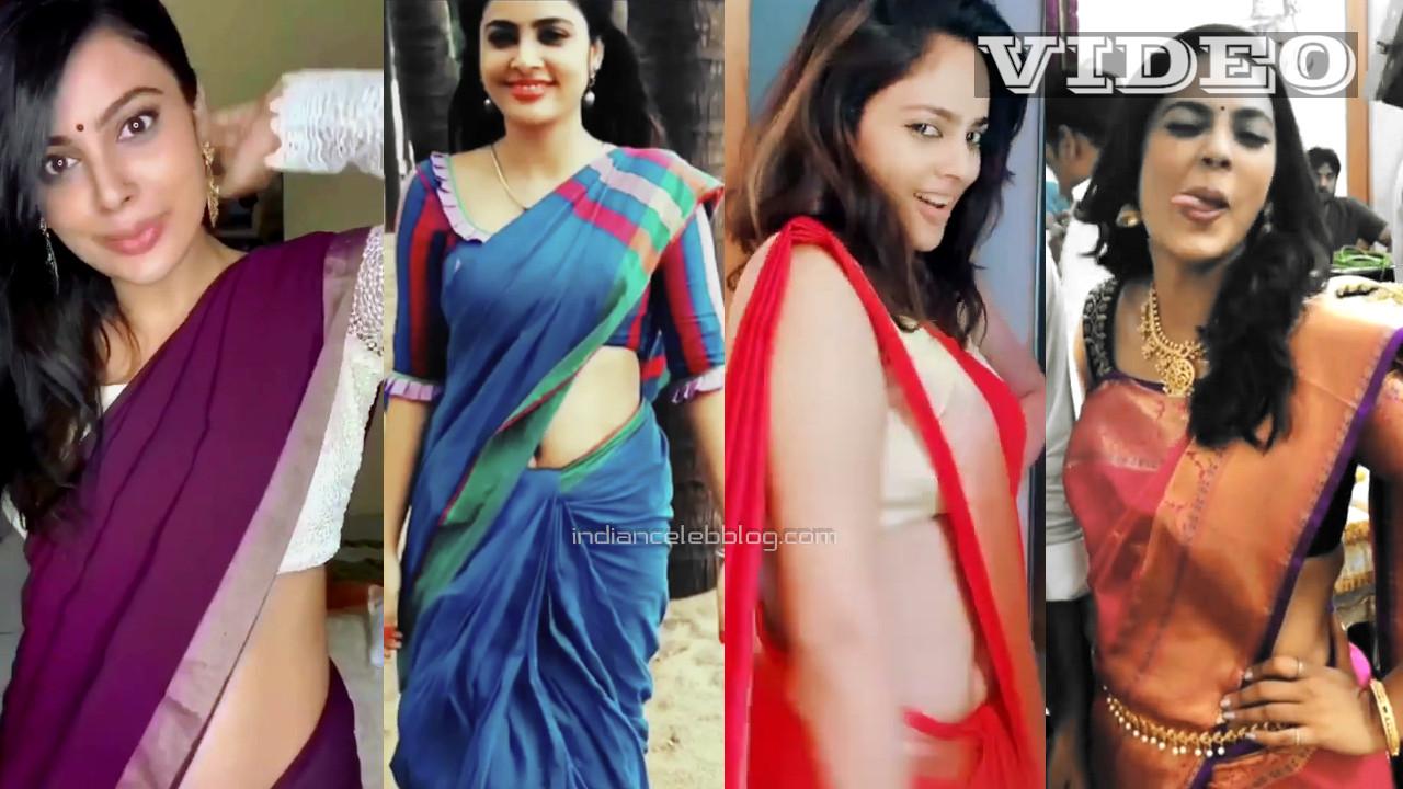 Nandita swetha tamil actress hot saree navel social media video mix