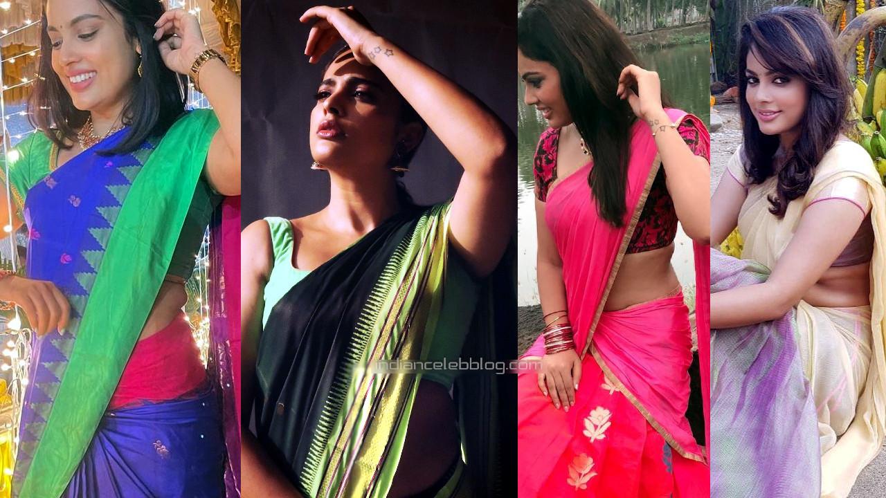 Nandita swetha kollywood actress sexy saree midriff show social media pics