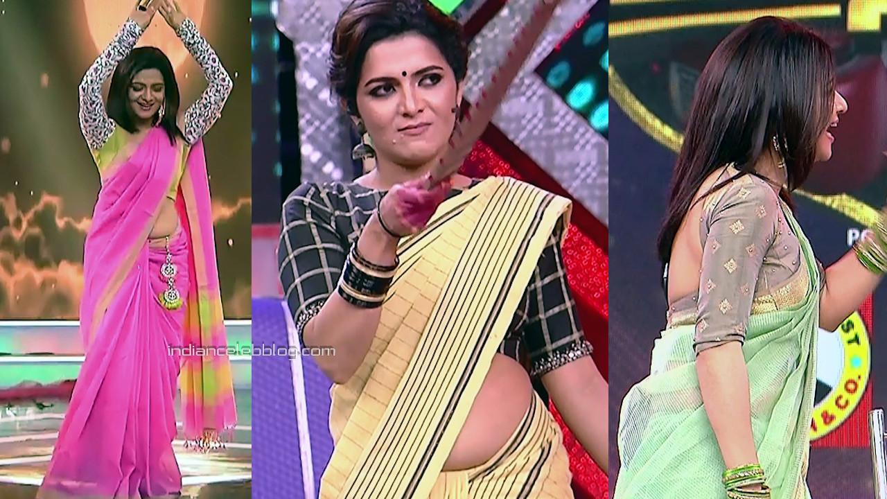 Divyadarshini tamil tv anchor reality show sexy saree midriff