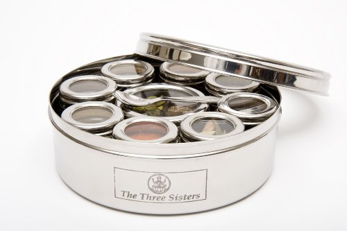 The Three Sisters Stainless Steel Masala Dabba Spice Box with Spices