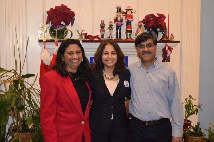Neera Tanden (center) with Latha Mangipudi (left)