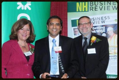 Pictured from the right is McClean Communications President Sharron McCarthy, YogaCaps and RxRelax co-Founder Jay Gupta, and NH Business Review Editor Jeff Feingold.