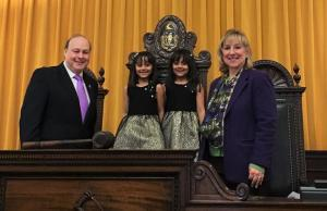Pictured with the twins are Senate President Stanley Rosenberg and Sen. Spilka (Courtesy: Wicked Local)