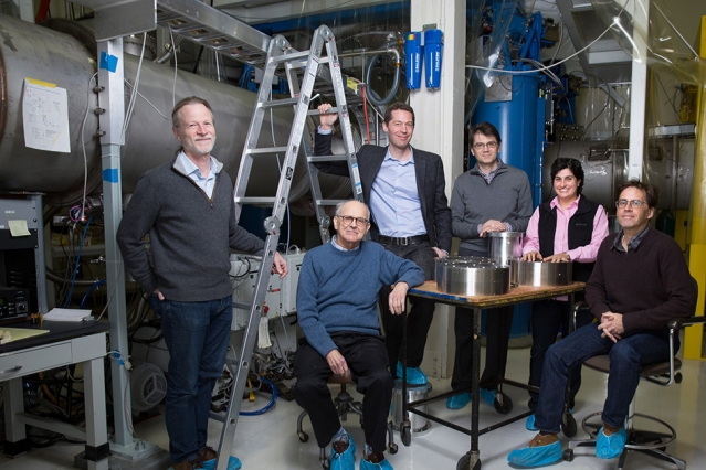 Left to right: David Shoemaker, Rainer Weiss, Matthew Evans, Erotokritos Katsavounidis, Nergis Mavalvala, and Peter Fritschel. Photo: Bryce Vickmark, Courtesy: MIT News