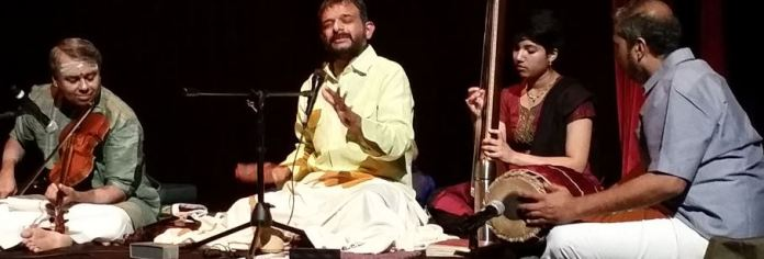 T M Krishna singing Carnatic music (Photo: Geetha Patil)