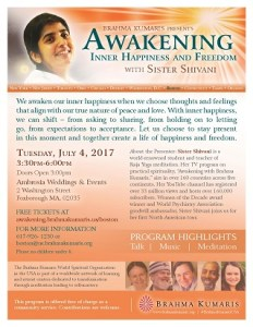Awakening:Inner Happiness and Freedom - with Sister Shivani @ Ambrosia Weddings & Events