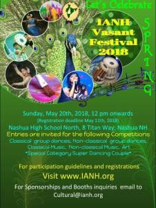 IANH Vasant Festival 2018 @ Nashua High school North, 8 Titan way Nashua NH    Nashua   New Hampshire   United States