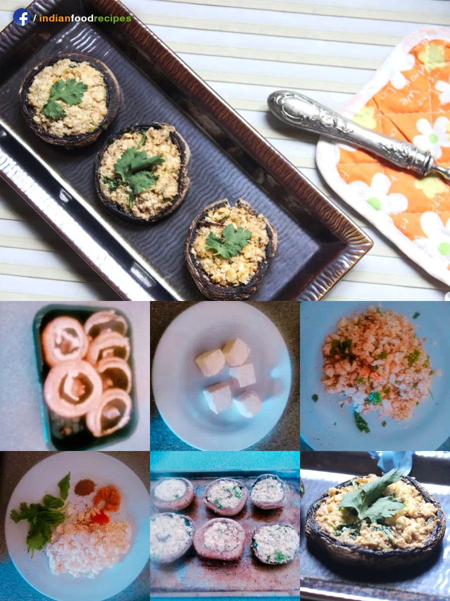 Baked Paneer Stuffed mushrooms recipe step by step