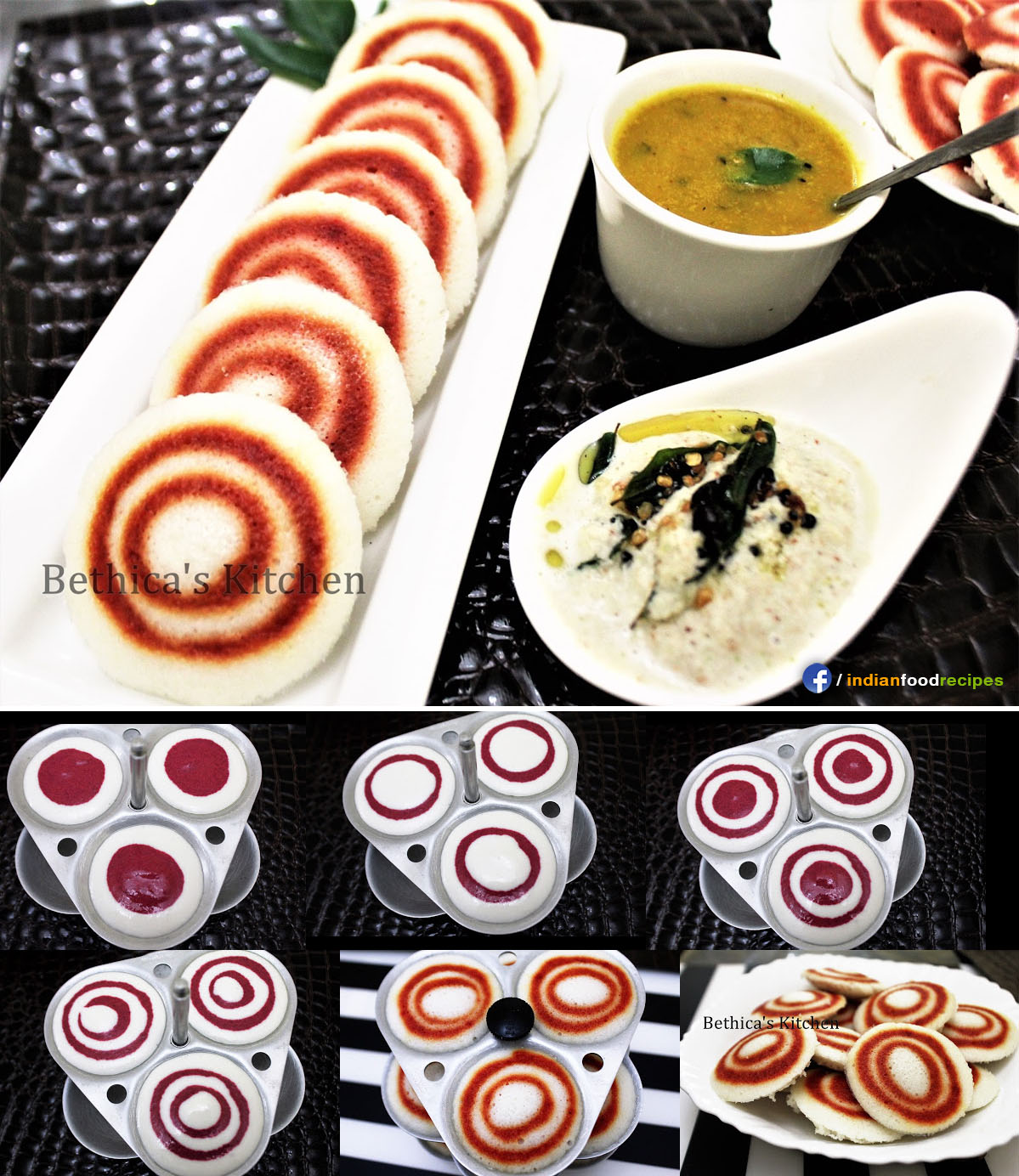Beetroot Swirl Idlis recipe step by step