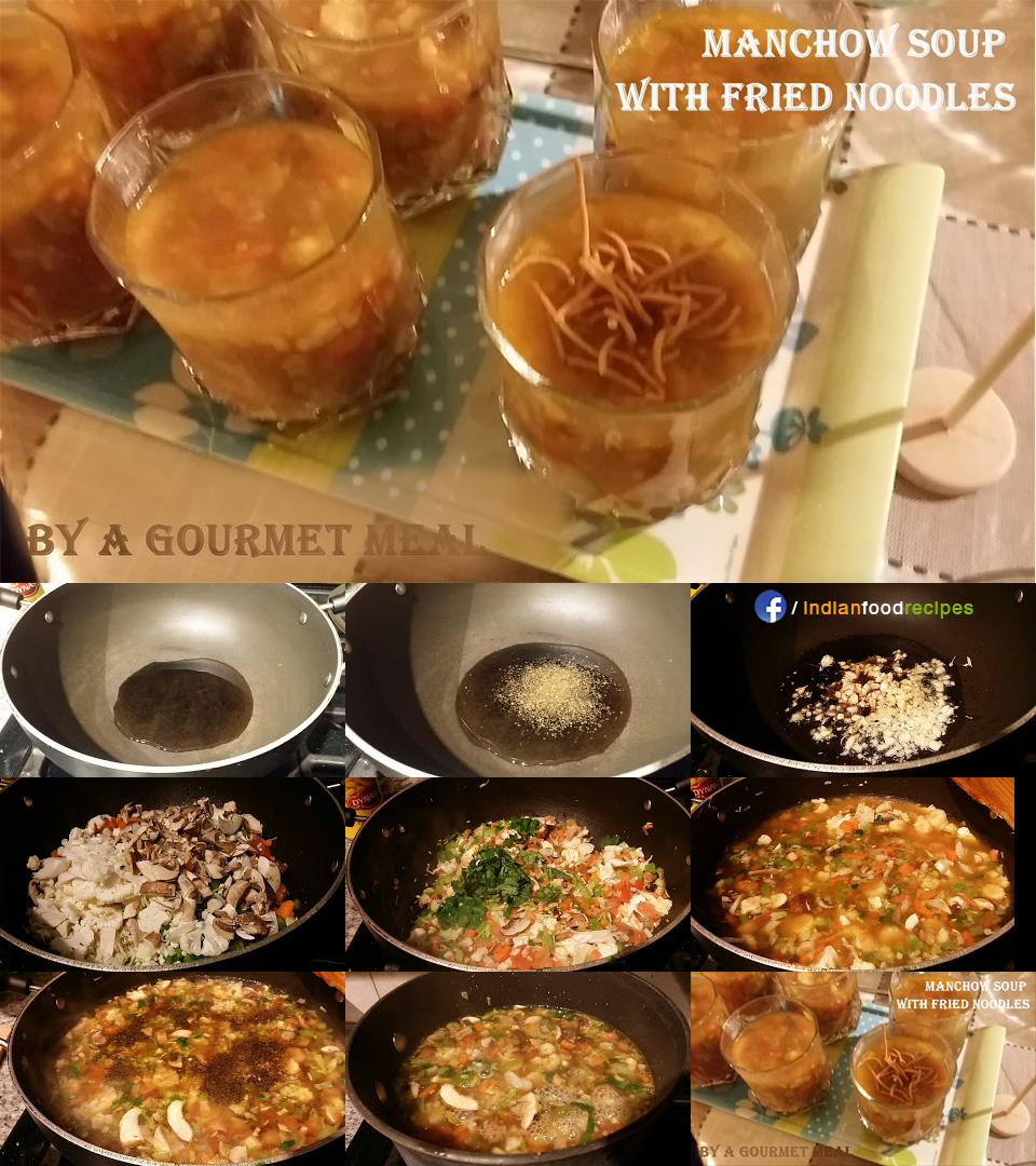 Manchow Soup with Fried Noodles recipe step by step