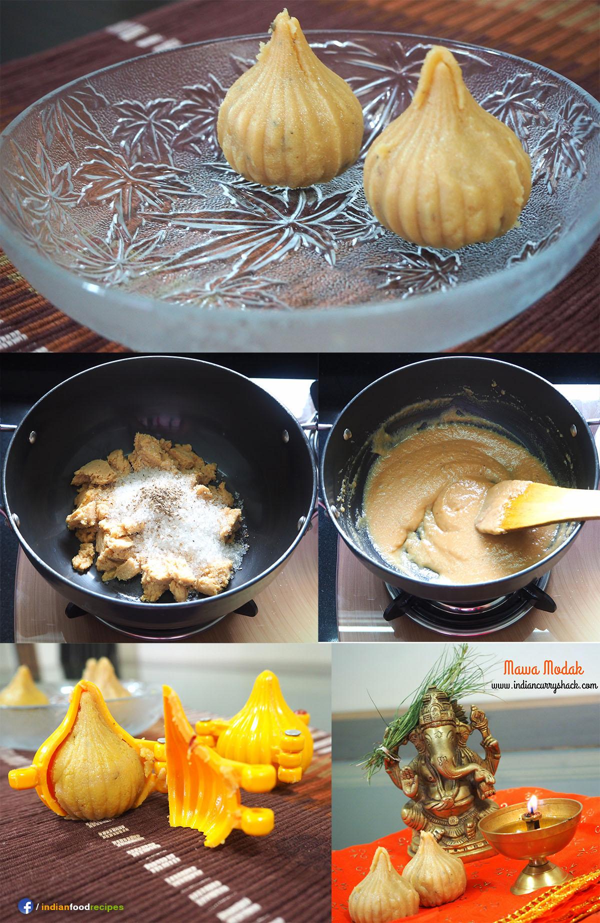 Mawa Modak Dried Milk Dumplings recipe step by step pictures