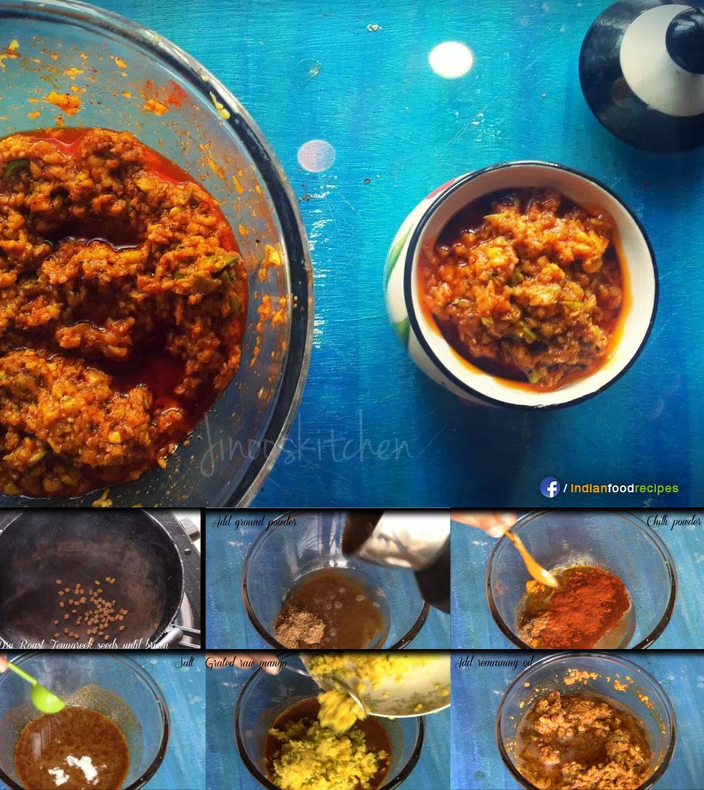 Raw Mango Pickle / Mango Thokku recipe step by step