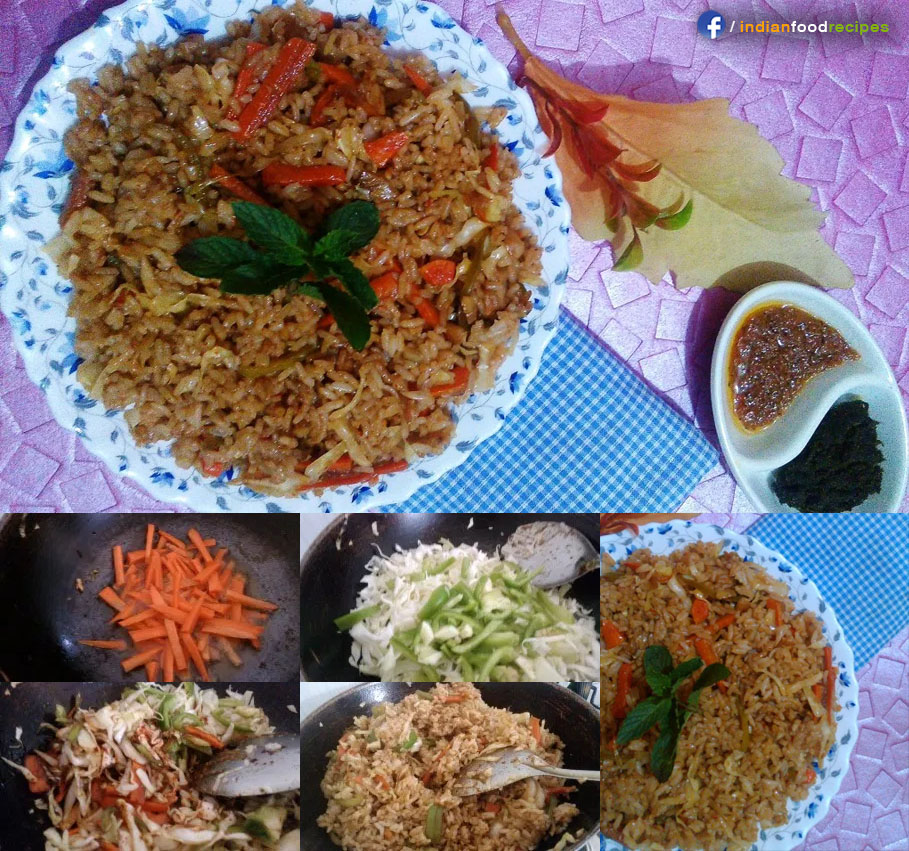 Restaurant Style Indo Chinese Veg Fried Rice recipe step by step