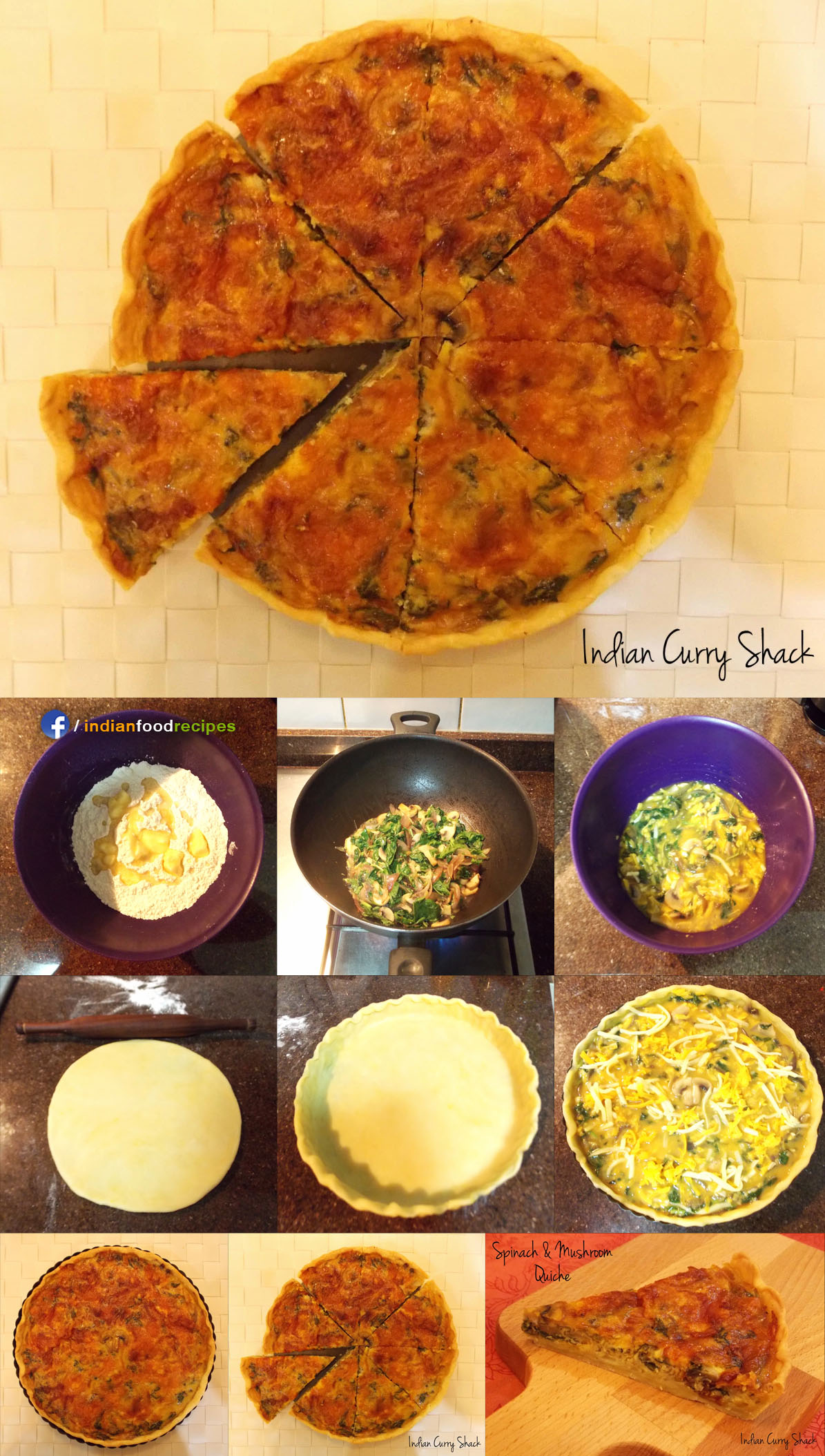 Spinach and Mushroom Quiche recipe step by step