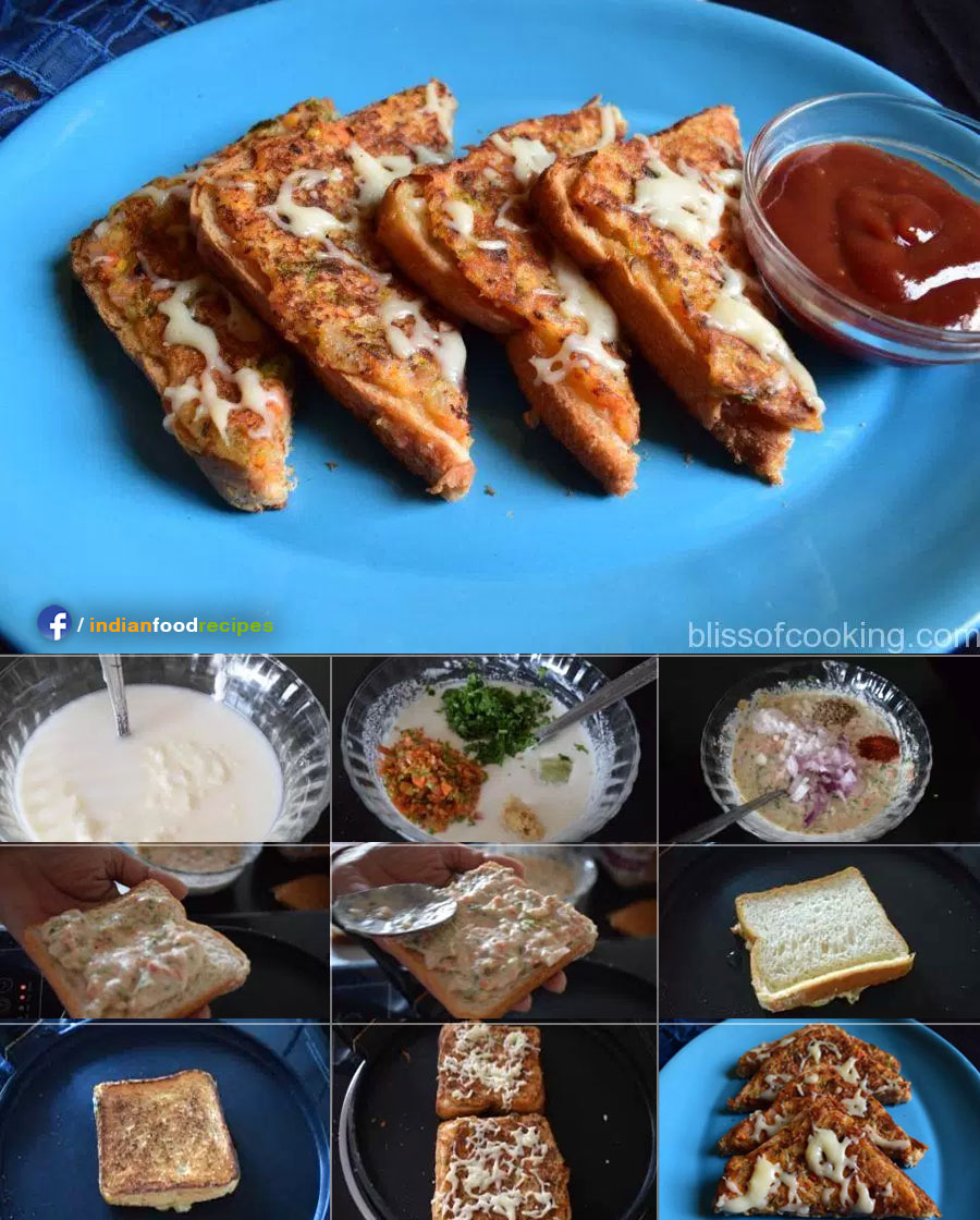 Suji Toast / Rava Toast (Semolina Toast) recipe step by step