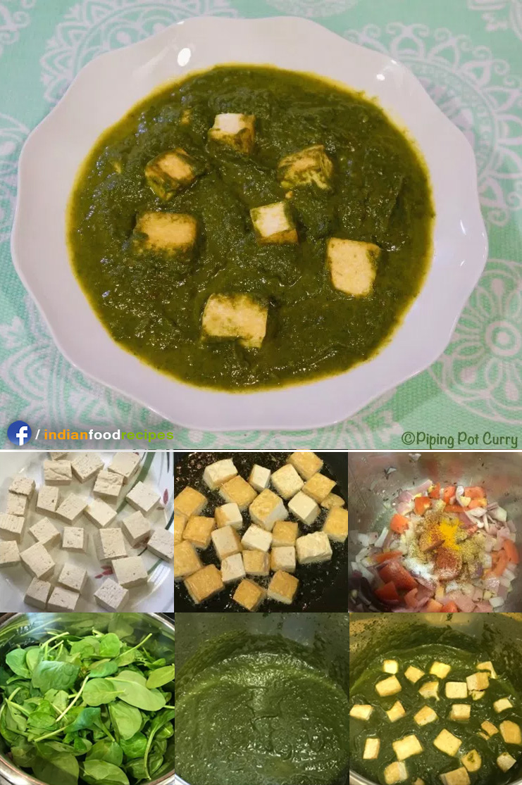 Vegan Palak Tofu Instant Pot Pressure Cooker recipe step by step
