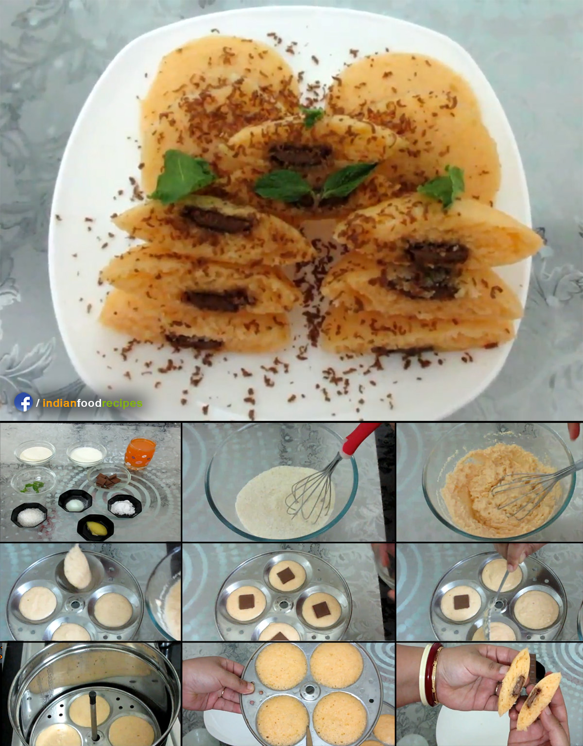 Chocolate stuffed Orange mint Idli recipe step by step