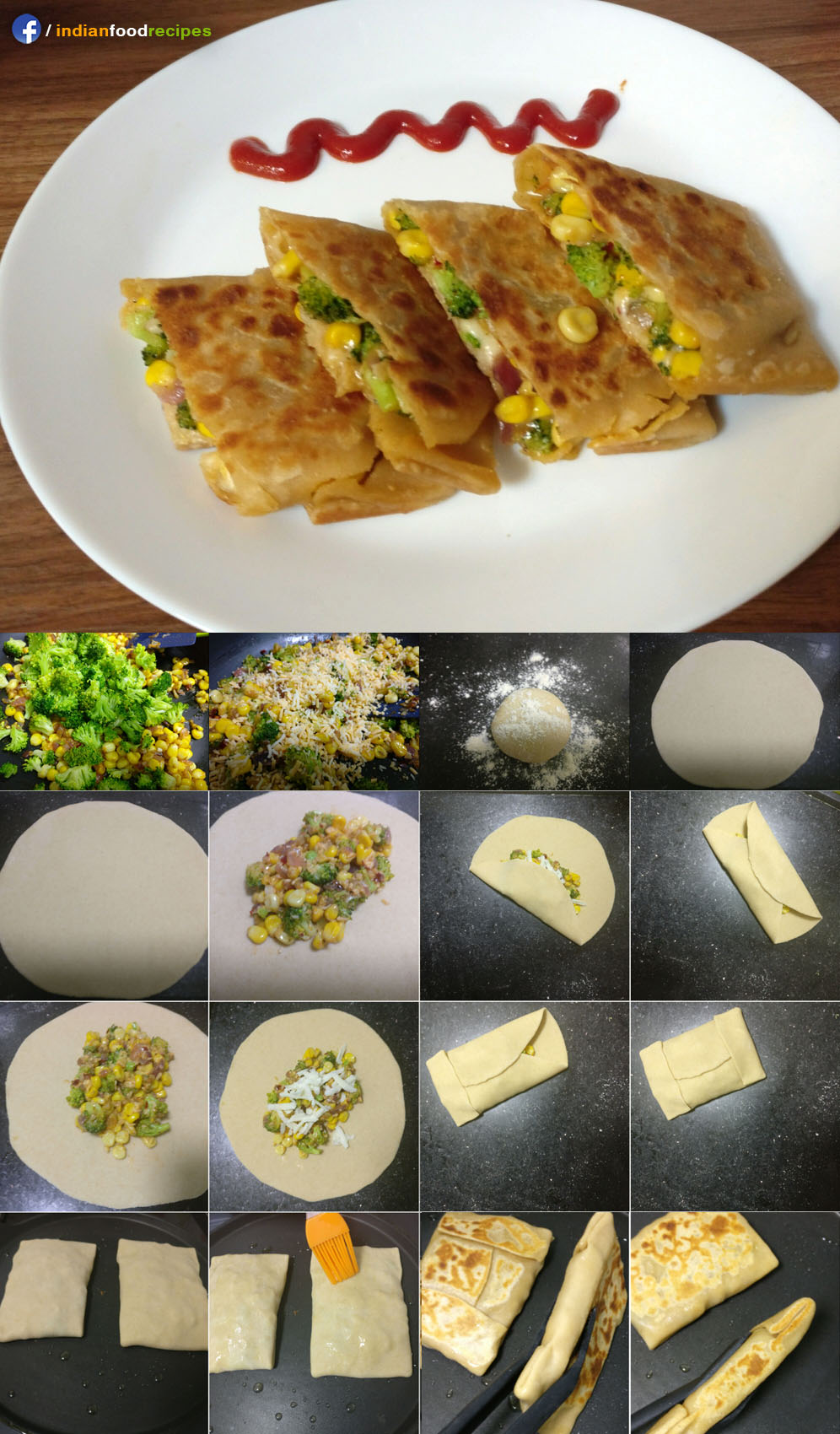 Cheesy corn broccoli pocket recipe step by step