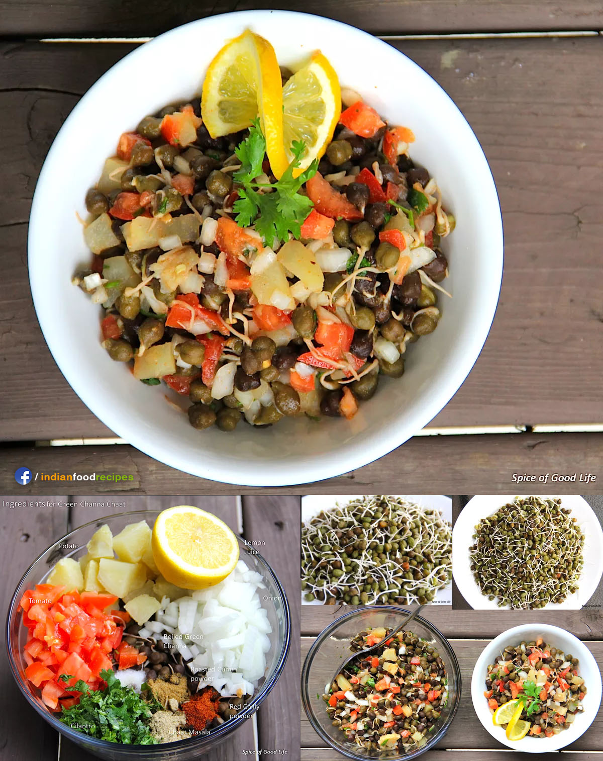 Indian style spicy tangy Green Chickpea salad recipe step by step