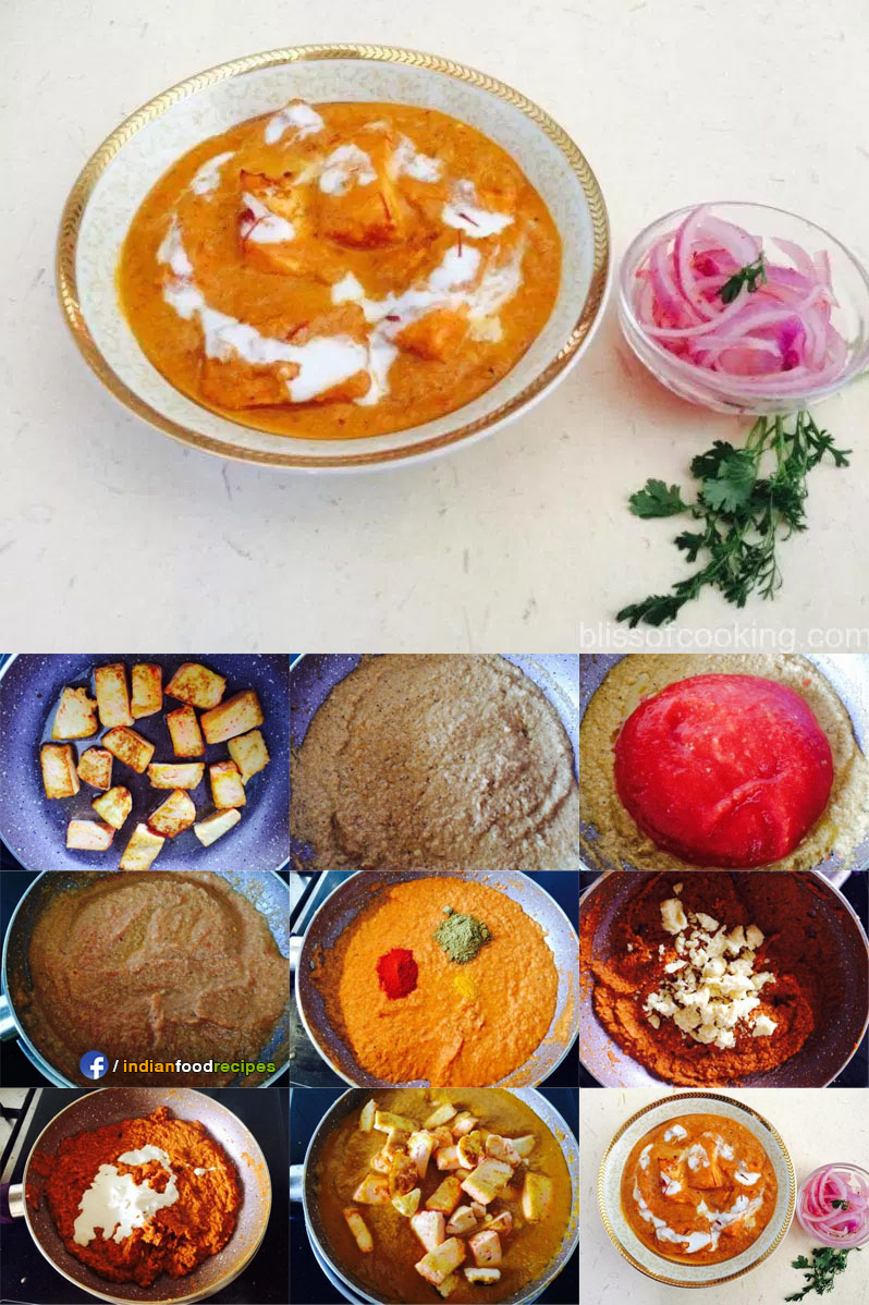Shahi Paneer Cottage Cheese gravy recipe step by step