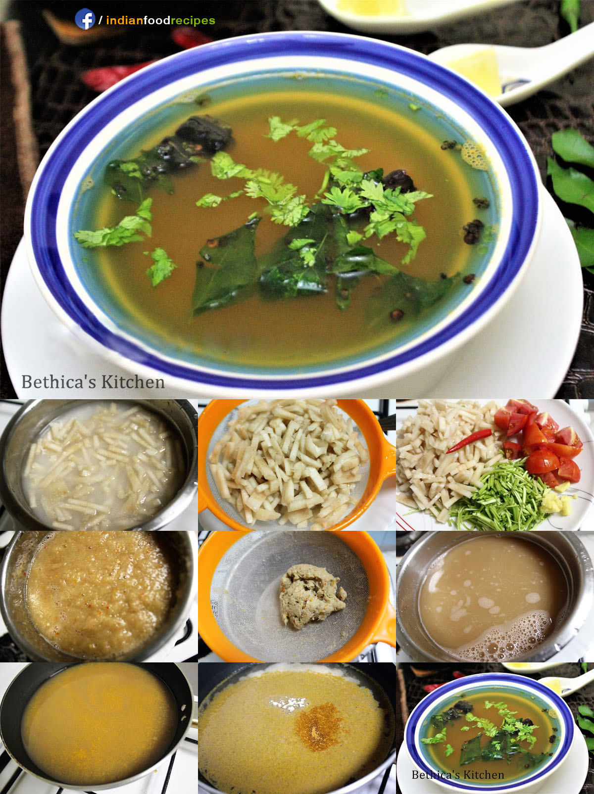 Banana Stem Rasam   Soup recipe step by step pictures