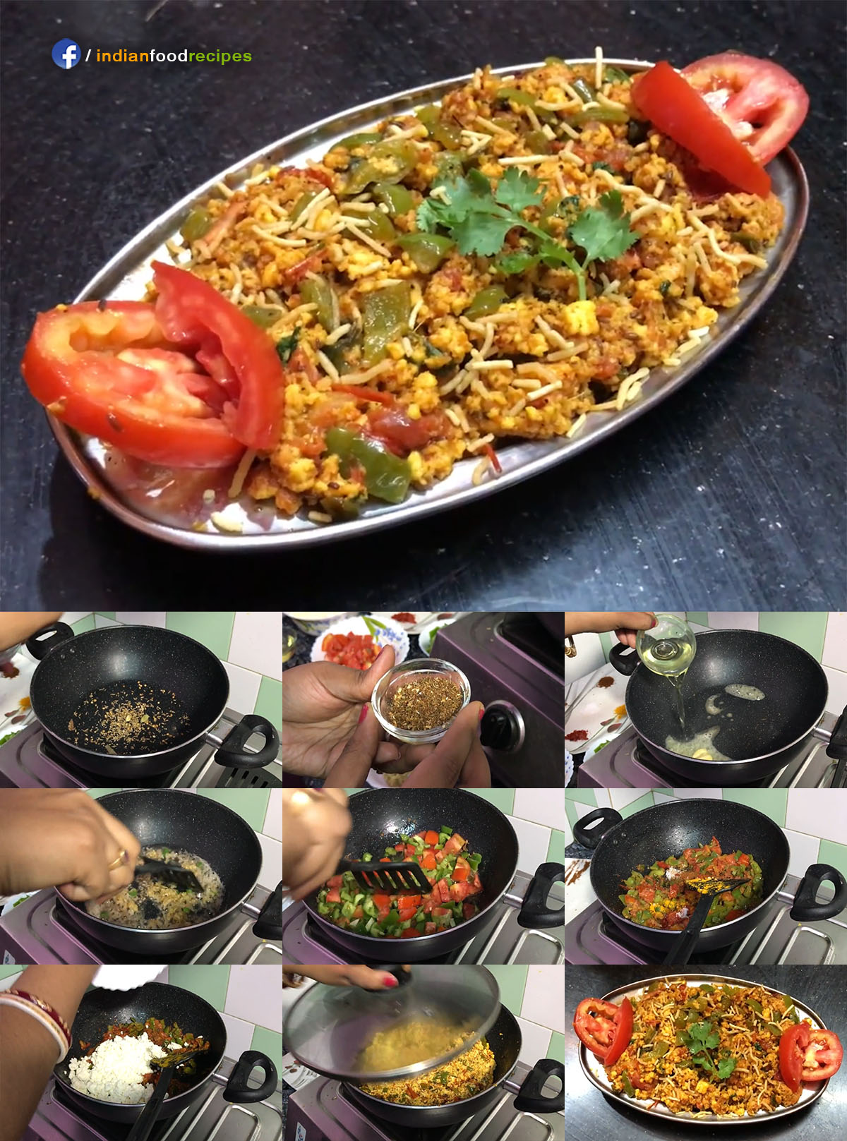 Paneer Bhurji / Scrambled Cottage Cheese recipe step by step