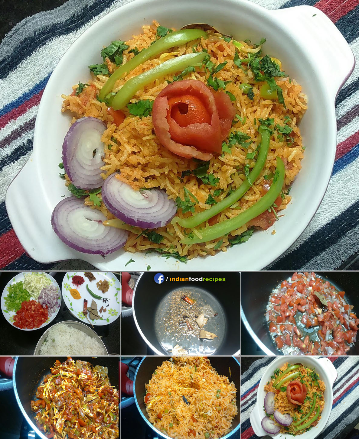 Spicy Veg Pulao recipe step by step pictures