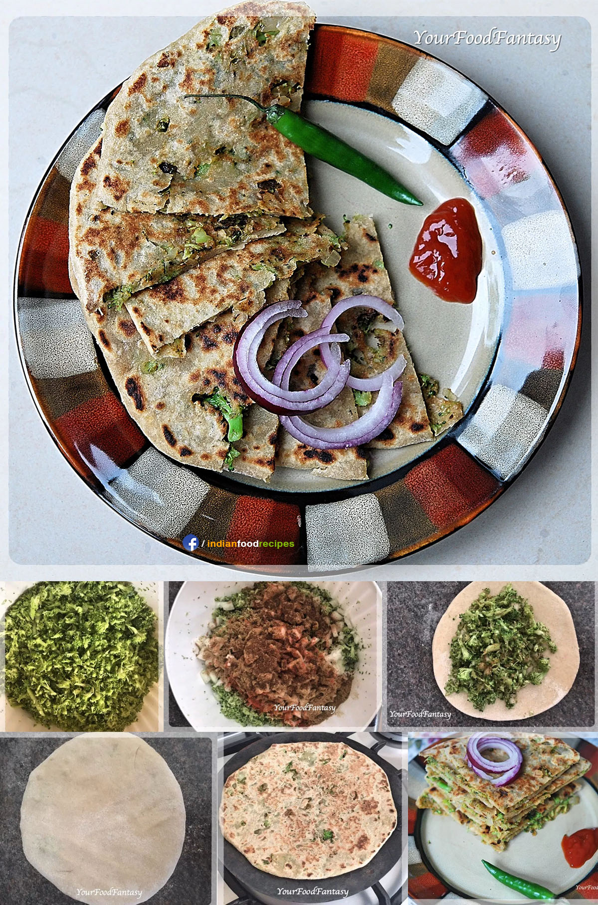 Broccoli Paratha recipe step by step pictures
