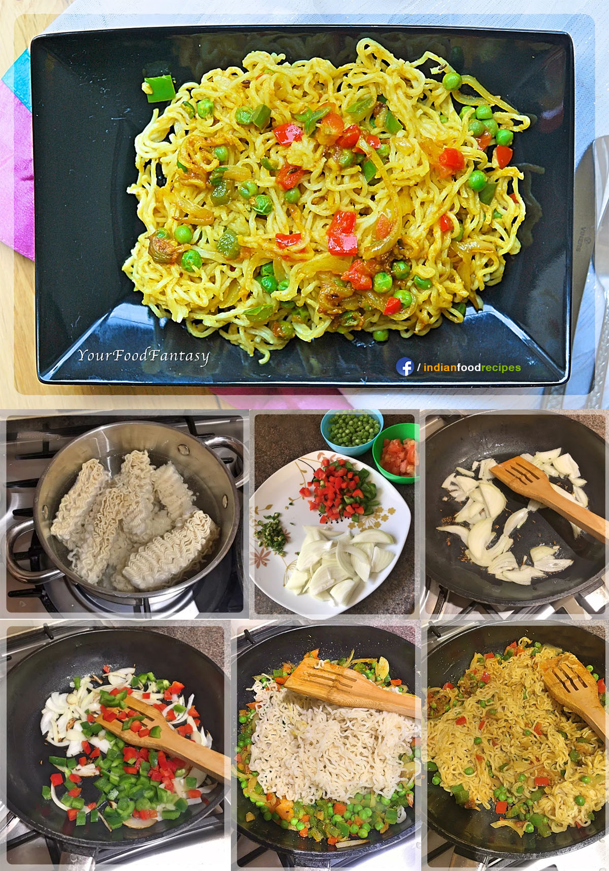 Vegetable Maggi Noodles recipe step by step pictures