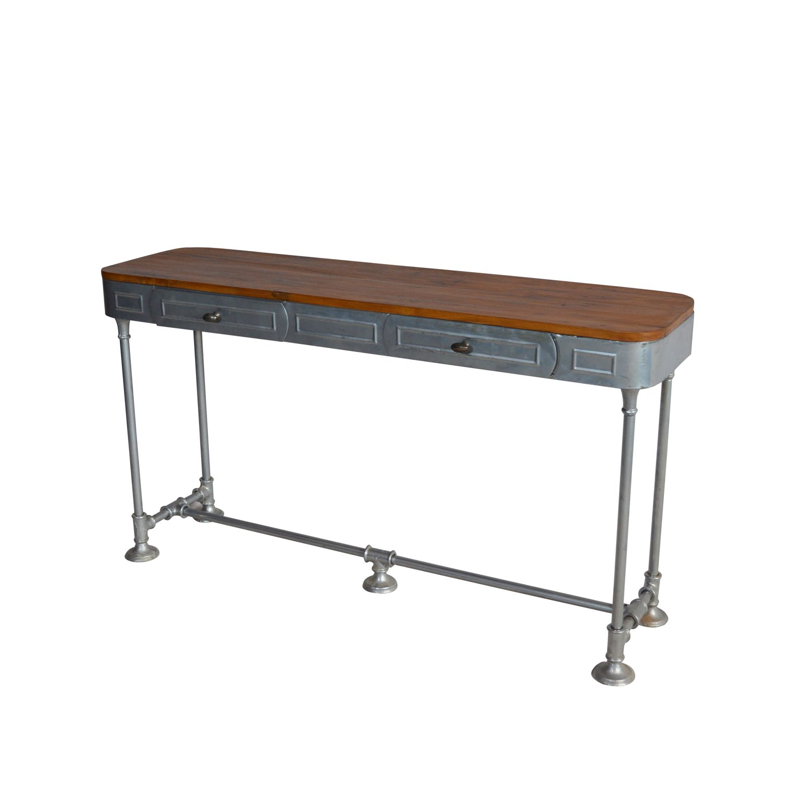 teak sofa table thomasville benjamin leather industrial console two drawer top natural