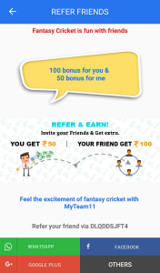 (Fantasy Cricket) MyTeam11 Refer And Earn: Get Rs 100 On Signup + Rs. 50 Per Referral