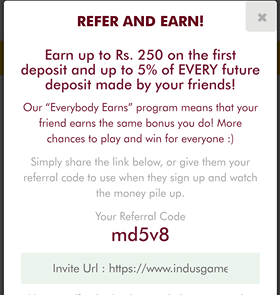 Indus Games Refer and Earn Program