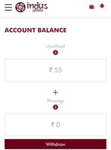 indus game money withdraw