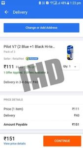 Flipkart Free Delivery Trick For Products