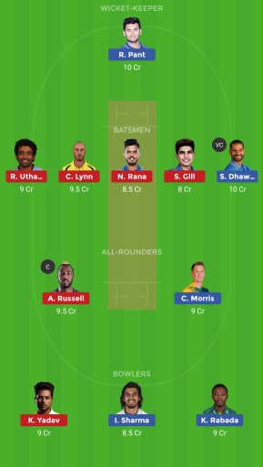 DC VS KKR Dream 11 Team
