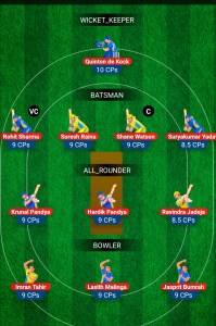 MI vs CSK My11Circle Fantasy Team
