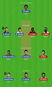 SRH vs KXIP Dream11 Grand League Teams