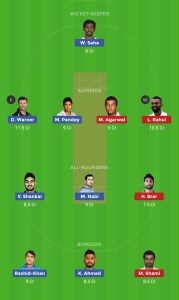 KXIP vs SRH Dream11 Team For Small Leagues