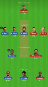 INDIA VS SOUTHAFRICA DREAM 11