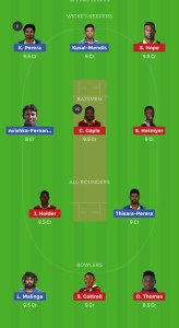 SL VS WI Dream11 Team for grand league