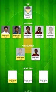 WI vs SL Fanfight Fantasy Team For Todya's Match