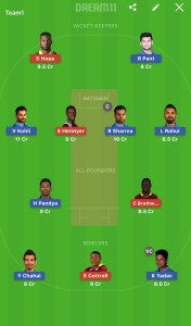 IND Vs WI Dream11 Team Today for small league