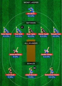 INDIA VS NEW ZEALAND MY11CIRCLE FANTASY TEAM