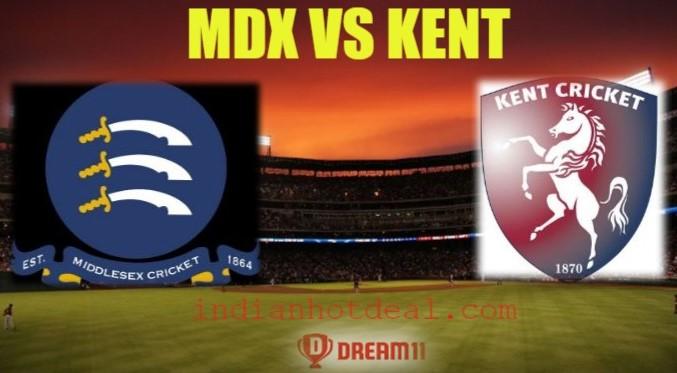 MDX vs KENT Dream11 Team Prediction, English T20 Blast 2019