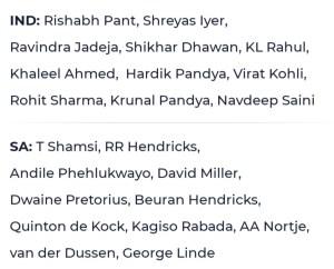 IND vs SA 2nd T20 Squads