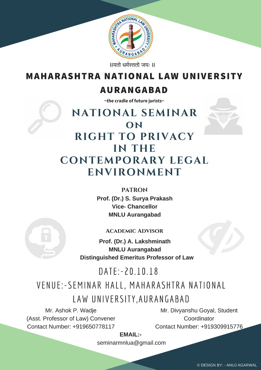 NATIONAL SEMINAR on Right to Privacy in the Contemporary Legal Environment : MNLU