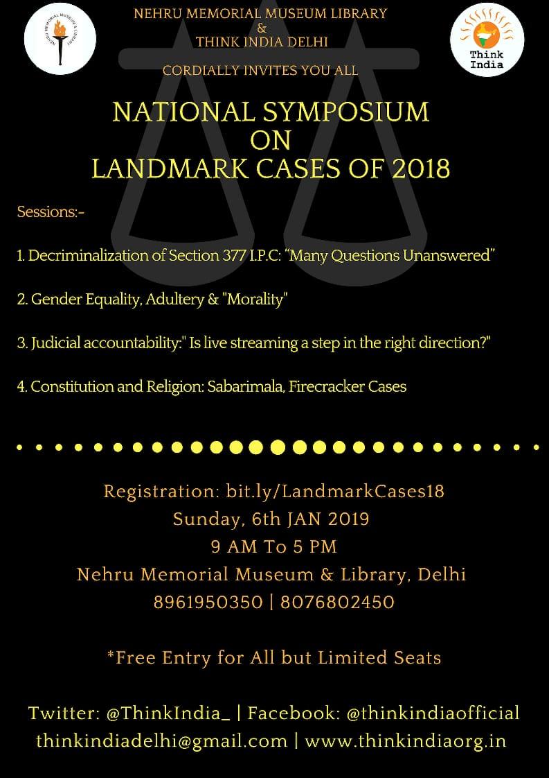 Think Indian Delhi Presents 2nd National Symposium on Landmark Judgments of 2018.