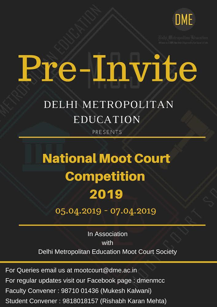 Pre Invite: 3rd DME National Moot Court, 2019.